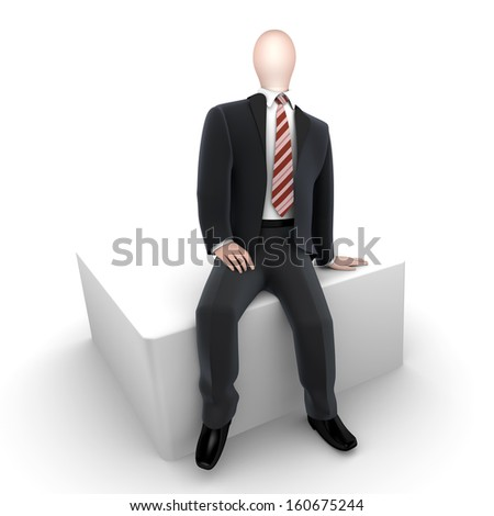 three dimensional business man / gentleman in suit with tie