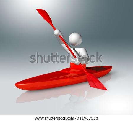 three dimensional canoe slalom symbol - stock photo