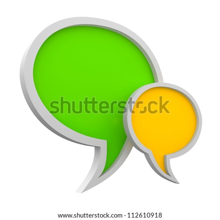 Three dimensional colorful speech bubbles isolated on white - stock photo