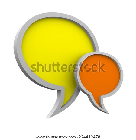 Three dimensional colorful speech bubbles isolated on white background - stock photo