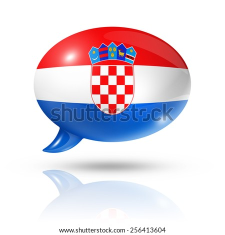 three dimensional Croatia flag in a speech bubble isolated on white with clipping path - stock photo
