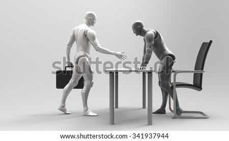 Three dimensional 3d human deal. Ready to close. interview the head office. bribery. a new proposal for the development of business. - stock photo