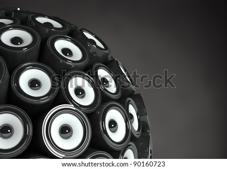 Three dimensional 3d sphere speakers. Isolated on black background - stock photo