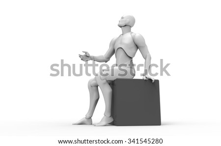 Three dimensional 3D white human sits on the black cube and thinking - stock photo