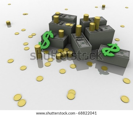 three-dimensional, Dollar, gold coins and dollar symbols lie on white glossy plane - stock photo