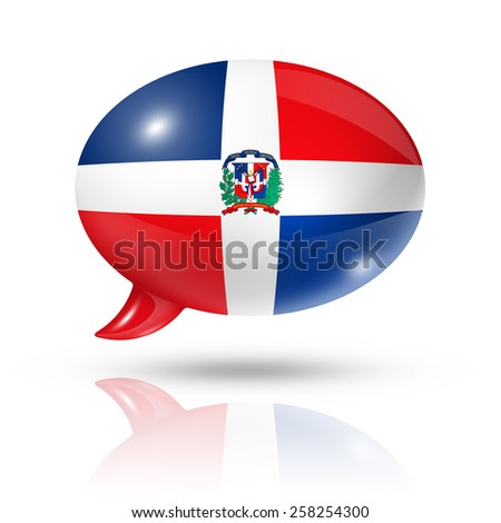three dimensional Dominican Republic flag in a speech bubble isolated on white with clipping path