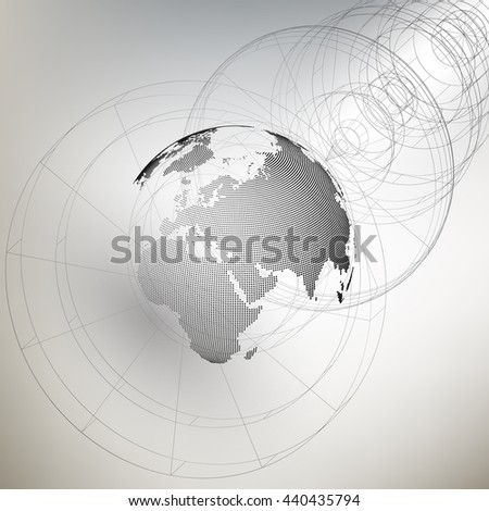 Three-dimensional dotted world globe with abstract construction on gray background. 3D illustration - stock photo