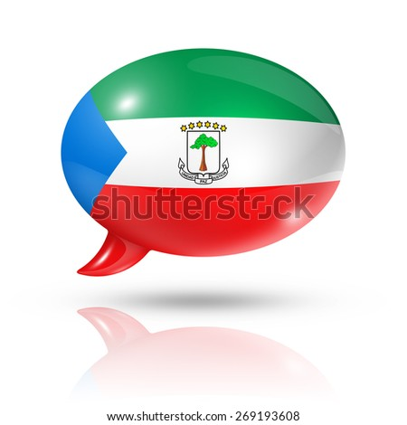 three dimensional Equatorial Guinea flag in a speech bubble isolated on white with clipping path - stock photo
