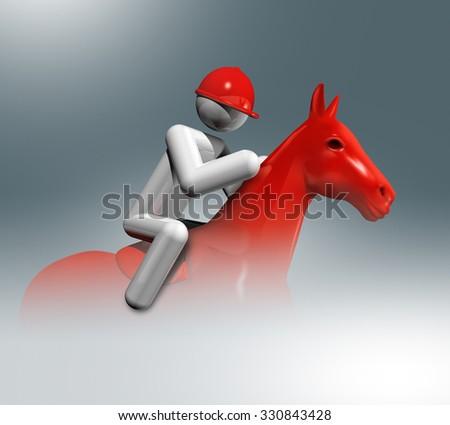 three dimensional equestrian jumping symbol - stock photo