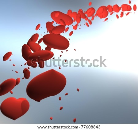 three-dimensional, flying, red, matte, heart