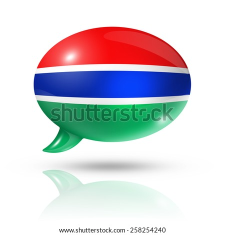 three dimensional Gambia flag in a speech bubble isolated on white with clipping path - stock photo
