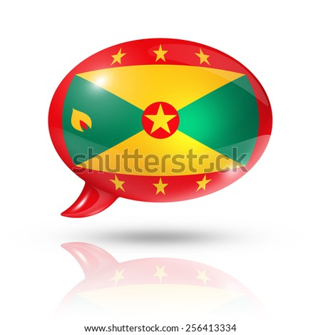 three dimensional Grenada flag in a speech bubble isolated on white with clipping path - stock photo