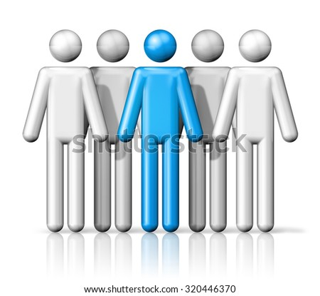 three dimensional group of people stick figures - white and blue - stock photo