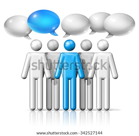 three dimensional group of stick figures people with speech bubbles, communication symbol, white and blue - stock photo