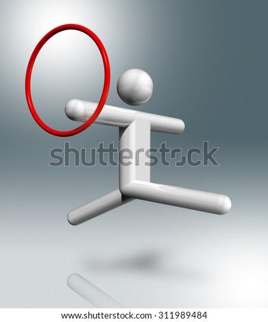 three dimensional gymnastics rhythmic symbol - stock photo