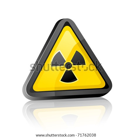 Three-dimensional Hazard warning sign with radiation symbol on white background with reflection. Bitmap copy my vector ID 59914576