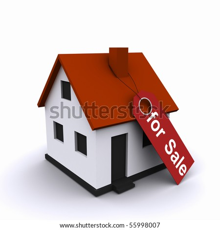 Three-dimensional house with red roofs. as a symbol of real estate - stock photo