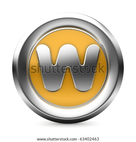 three-dimensional icon is yellow letters - stock photo