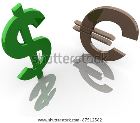 three-dimensional, icons for the dollar and euro on white glossy plane in perspective