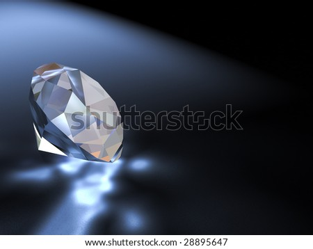 Three-dimensional illustration of a diamond. Precious stone