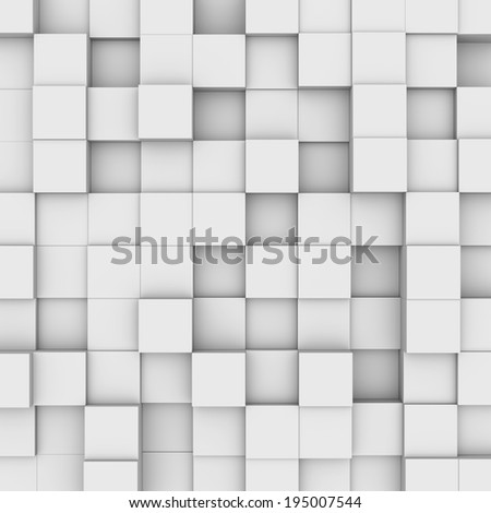 Three-dimensional illustration of background with white boxes - stock photo