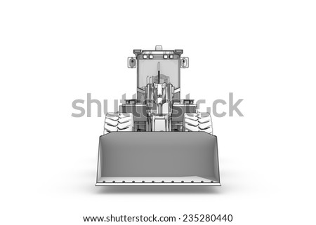 Three-dimensional illustration of black-and-white sketch of excavator - stock photo