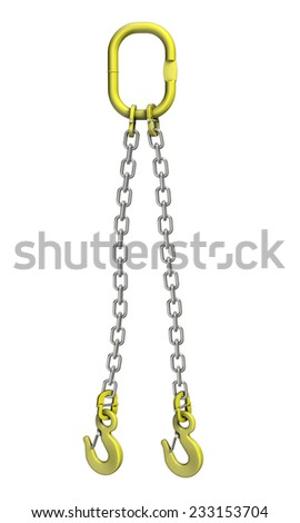 Three-dimensional illustration of cargo strapping: metal chain with crane hook - stock photo