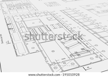 Three-dimensional illustration of flat architectural drawing and plan - stock photo