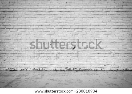 Three-dimensional illustration of interior with brick wall and concrete floor - stock photo