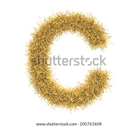 Three-dimensional illustration of letter C of hay isolated on white background - stock photo