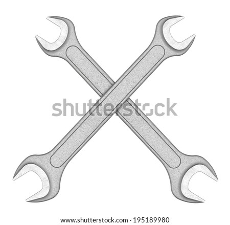 Three-dimensional illustration of metal wrench isolated on a white background - stock photo