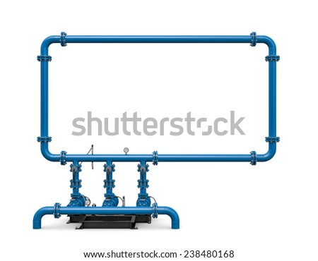 Three-dimensional illustration of pump station of water