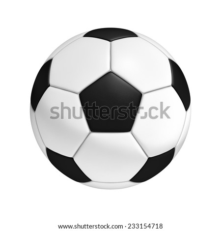 Three-dimensional illustration of soccer ball isolated on a white background - stock photo