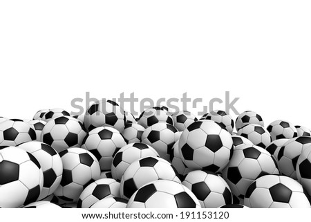 Three-dimensional illustration of soccer balls isolated on a white background - stock photo