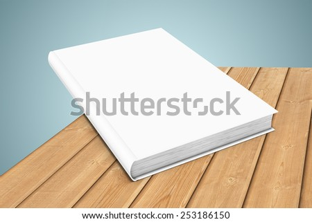 Three-dimensional illustration of white blank book on wooden planks