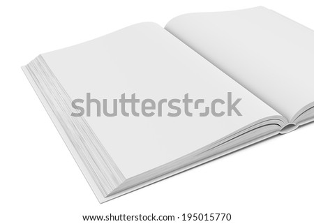 Three-dimensional illustration of white blank open book on white background