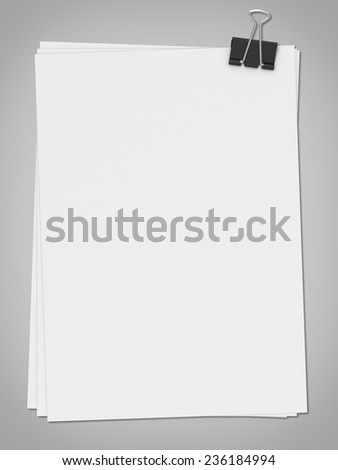 Three-dimensional illustration of white blank paer with clip - stock photo