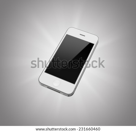 Three-dimensional illustration of white smartphone isolated on a gray background - stock photo