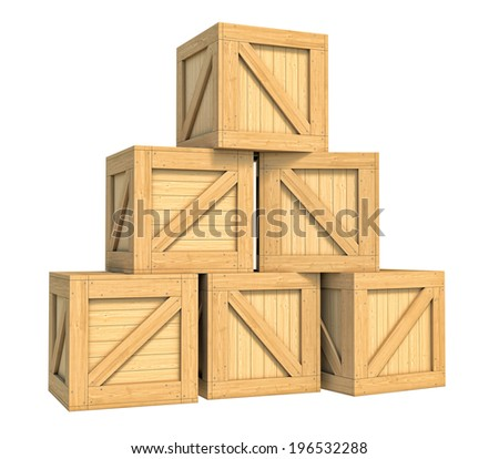 Three-dimensional illustration of wooden box isolated on a white background - stock photo