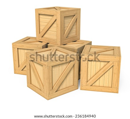 Three-dimensional illustration of wooden box isolated on a white background