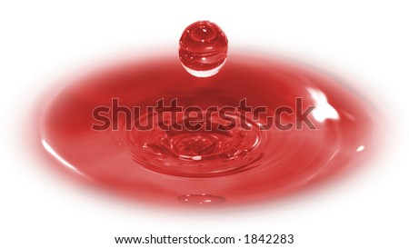 Three dimensional image of a drop of blood.  A conceptual shot of Christ's sacrifice.