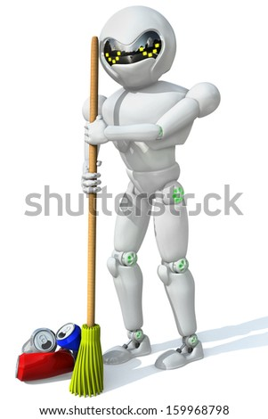 three-dimensional image of a robot cleaner with a broom in his hand a bunch of the cleaning aluminum cans on a white background. - stock photo