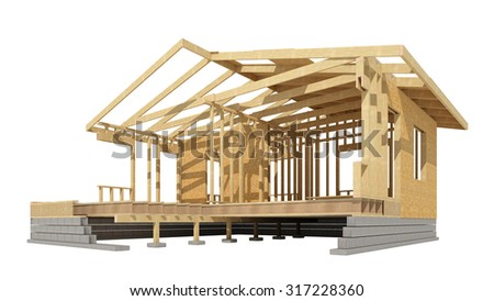three-dimensional image of a wooden frame house. - stock photo