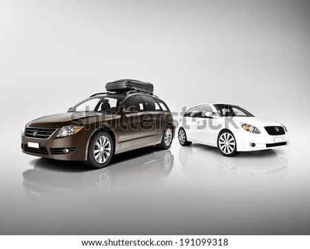 Three Dimensional Image of Black and White Cars - stock photo
