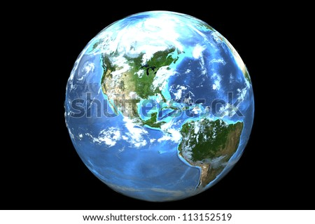Three dimensional image of planet earth isolated on a black background.