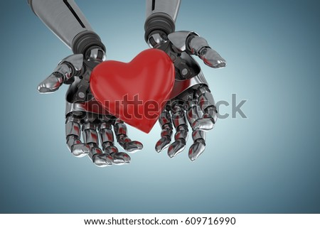 Three dimensional image of robot holding red heard shape against grey vignette 3d