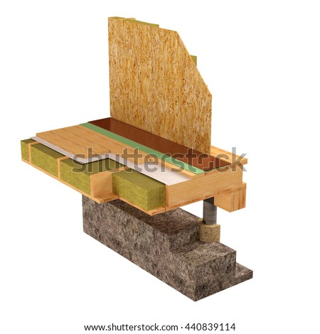 Three-dimensional image of the concept of building a frame house. Fragment of wall insulation of walls and floors. 3D model rendering. - stock photo