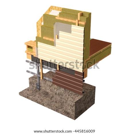 Threedimensional Image Concept Building Frame House Stock Photo ...