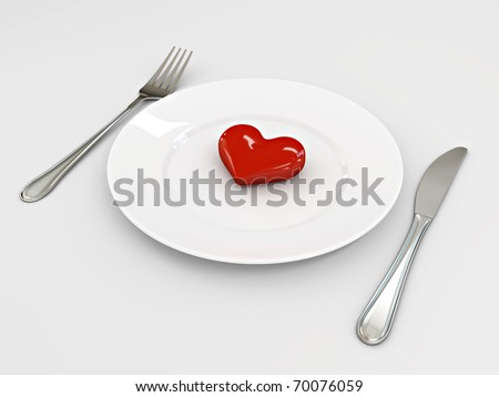 Three dimensional image of the heart on a plate. Valentine's Day
