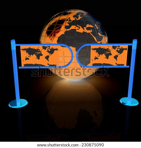 Three-dimensional image of the turnstile and earth - stock photo